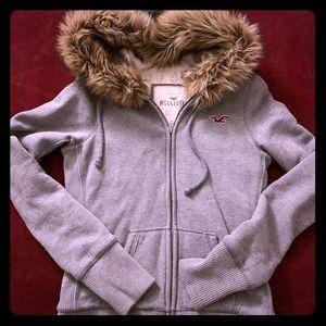 Hollister Warm Fur Zip Up Hoodie
